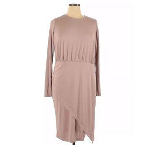 ASOS Curve Long Sleeve Jersey Asymmetrical Dress